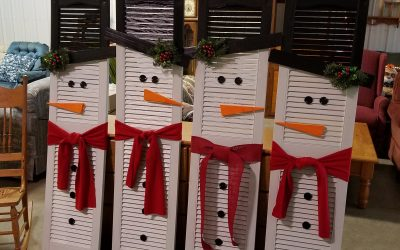 RePurposed Shutters Into A Snowman